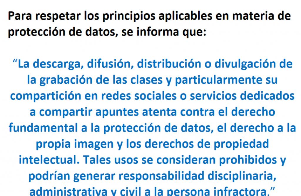 Aviso importante sobre protección de datos de la actividad docente